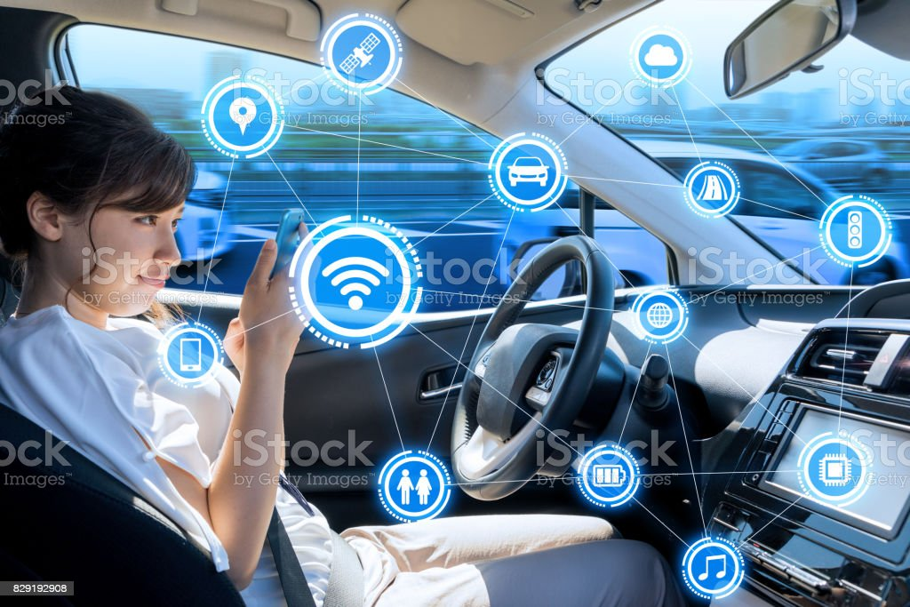 car interior and wireless communication network internet of things abstract concept stock photo. Black Bedroom Furniture Sets. Home Design Ideas