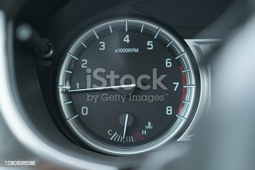 Car interior dashboard closeup.