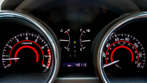 car interior dashboard automobile dashboard with speedometer dashboard vehicle part stock pictures, royalty-free photos & images