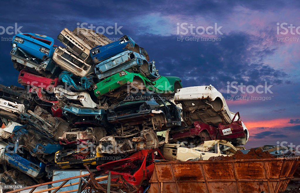 Car junkyard stock photo