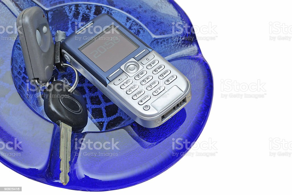 Car Key and Mobile Phone stock photo