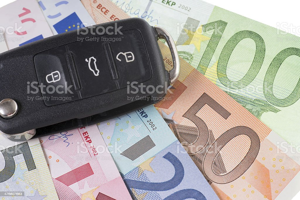 Car Key and Money stock photo