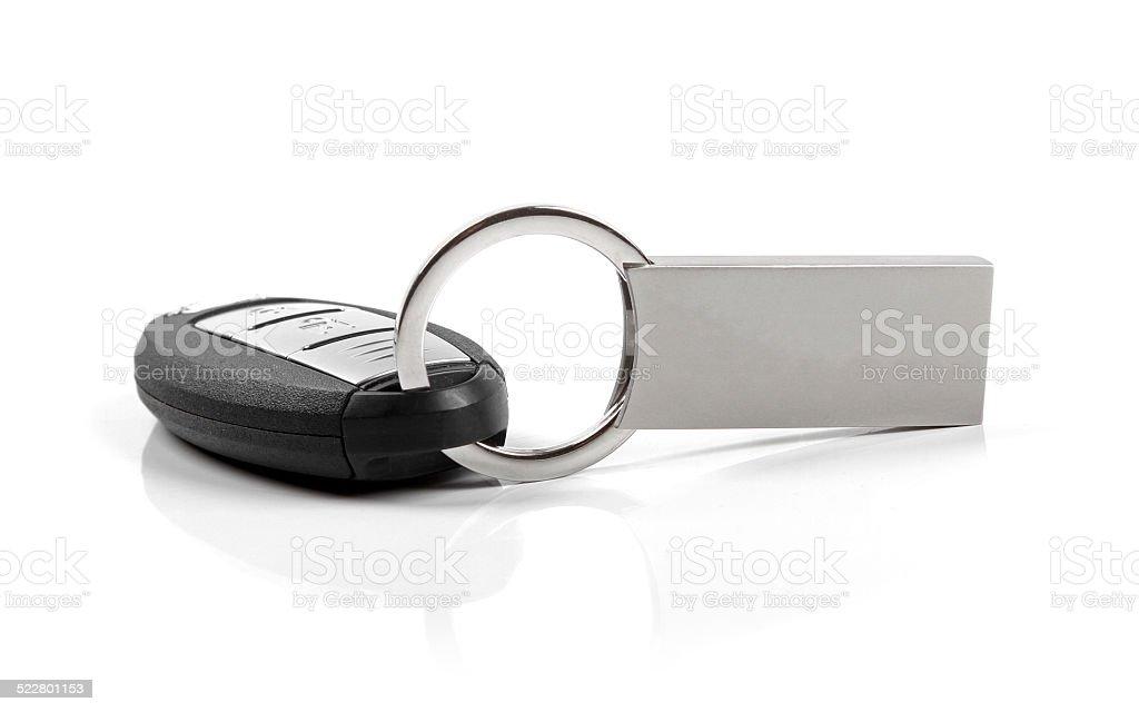 car key with blank keyring isolated on white stock photo