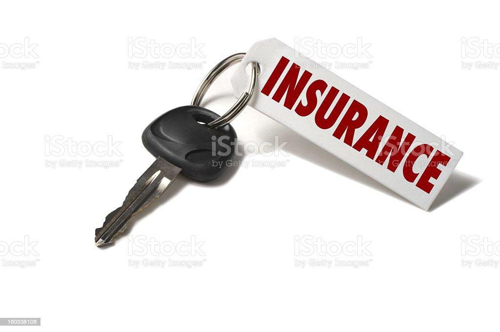 Autoschlüssel mit Versicherung Etikett isoliert auf weißem Hintergrund – Foto