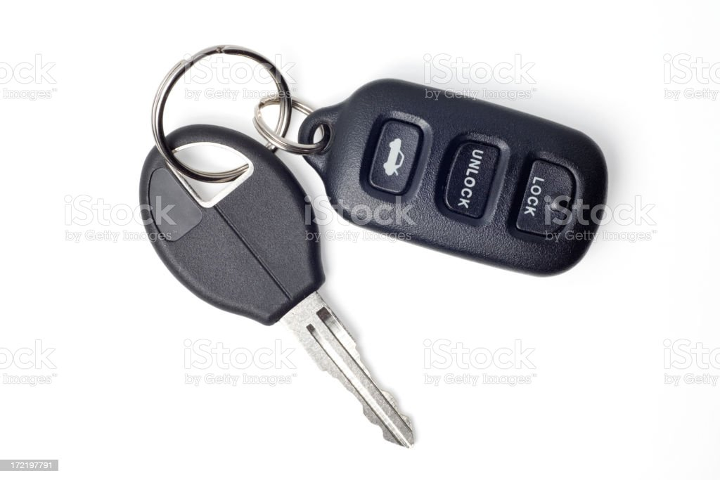 Car Keys and Remote on White with Clipping Path stok fotoğrafı