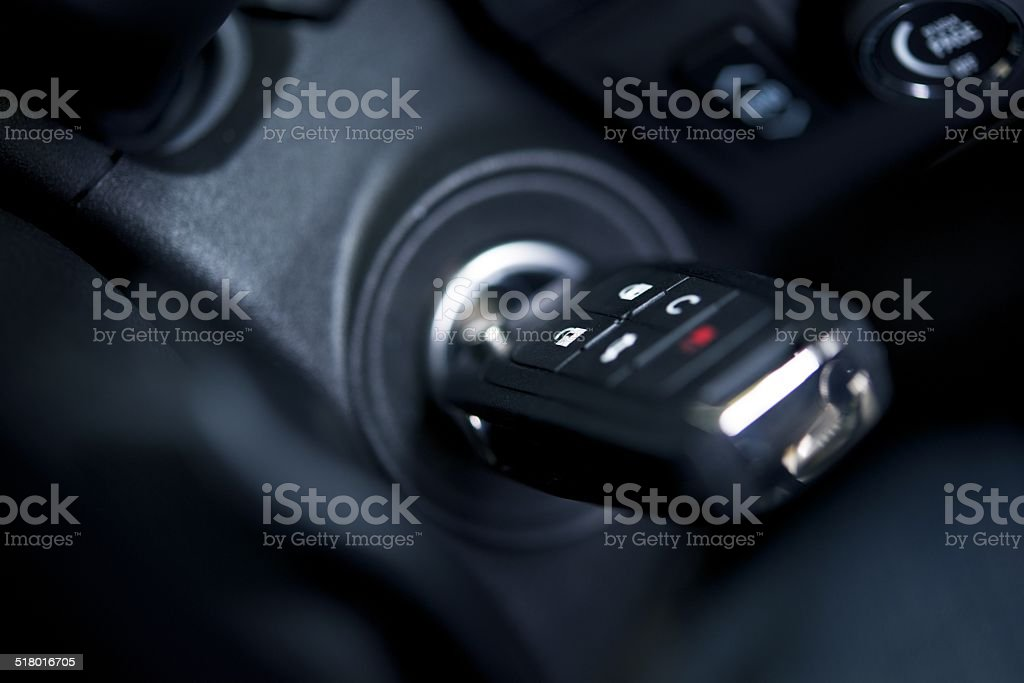 Car Keys in Ignition Keyhole stock photo