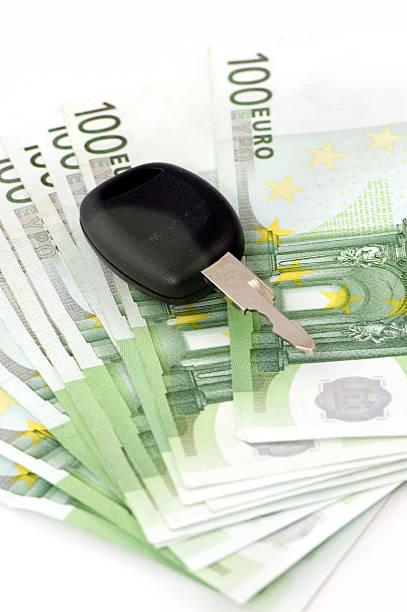 Car Keys on 100 Euro Banknotes. stock photo