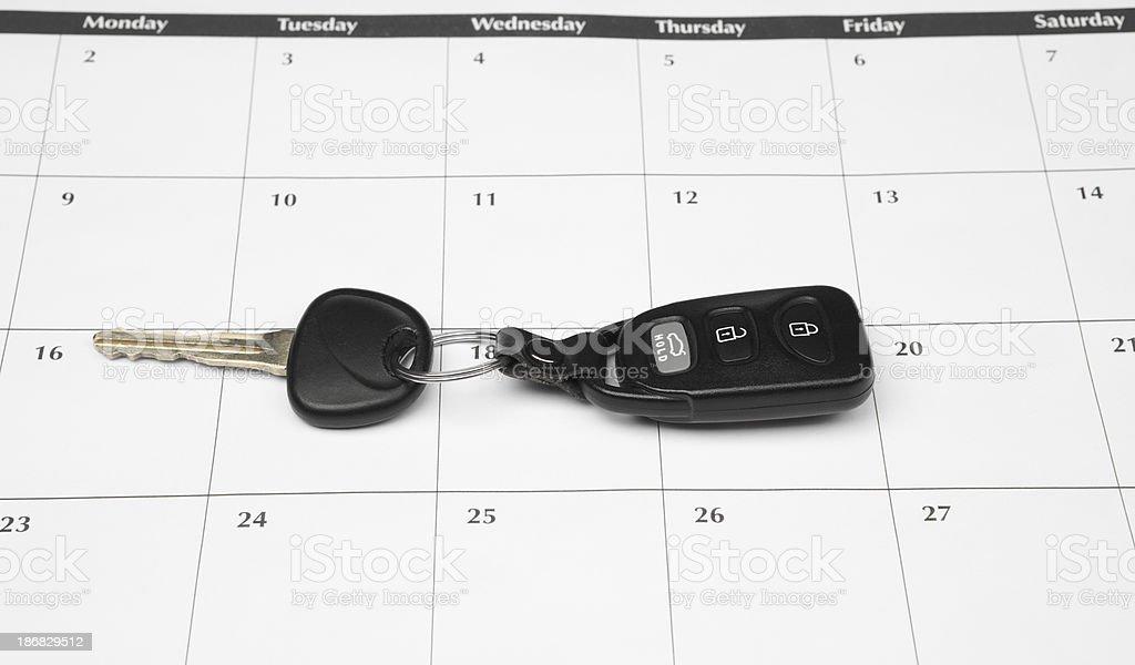 Car Keys on a Calendar stock photo