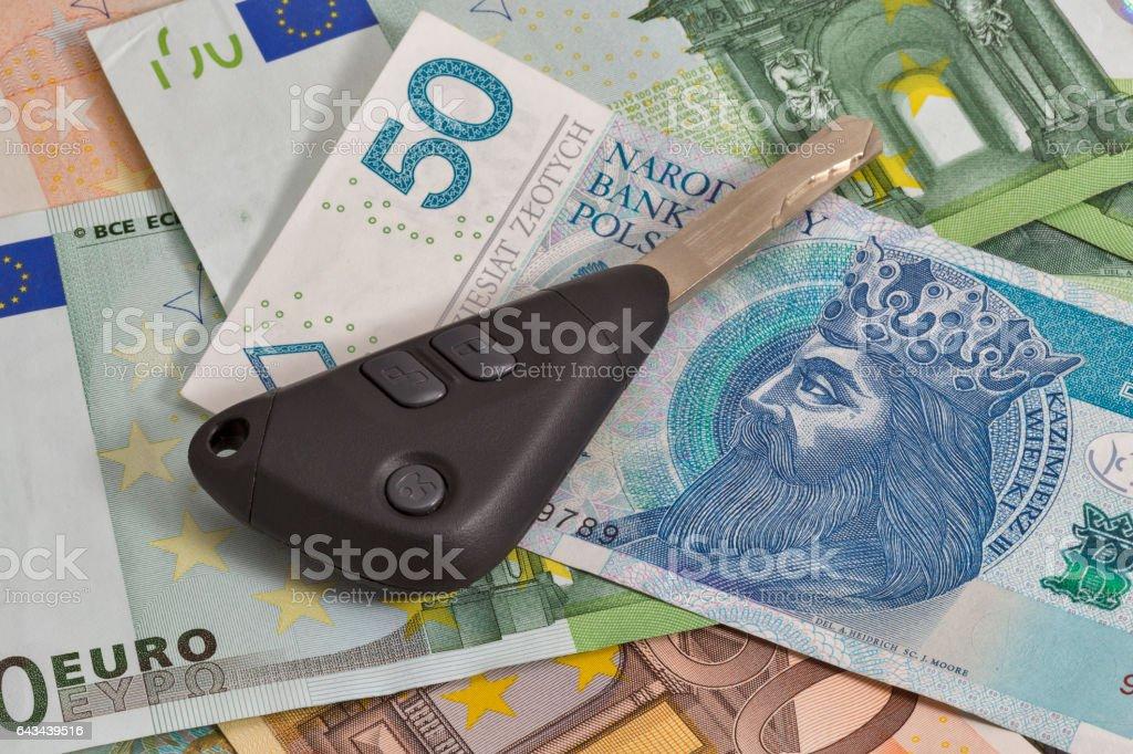 Car Keys On Polish Zloty And Euro Notes Background Stock Photo Istock