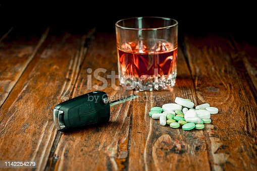 Concept of driving a car under the influence of alcohol or medication