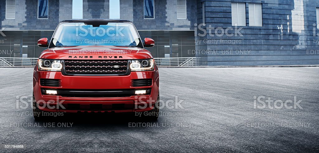 Car Land Rover Range Rover in the city at daytime Moscow, Russia - November 22, 2015: Land Rover Range Rover car parked at the Moscow-City at daytime Architecture Stock Photo