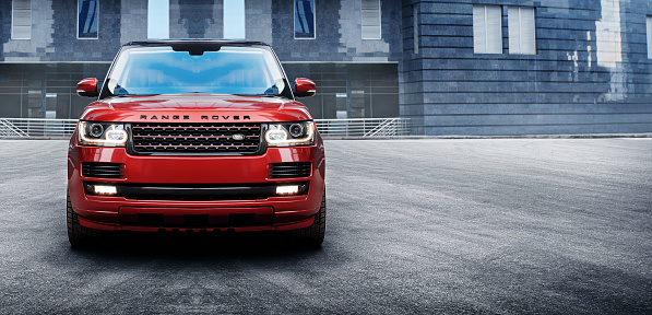 Car Land Rover Range Rover In The City At Daytime Stock Photo - Download Image Now