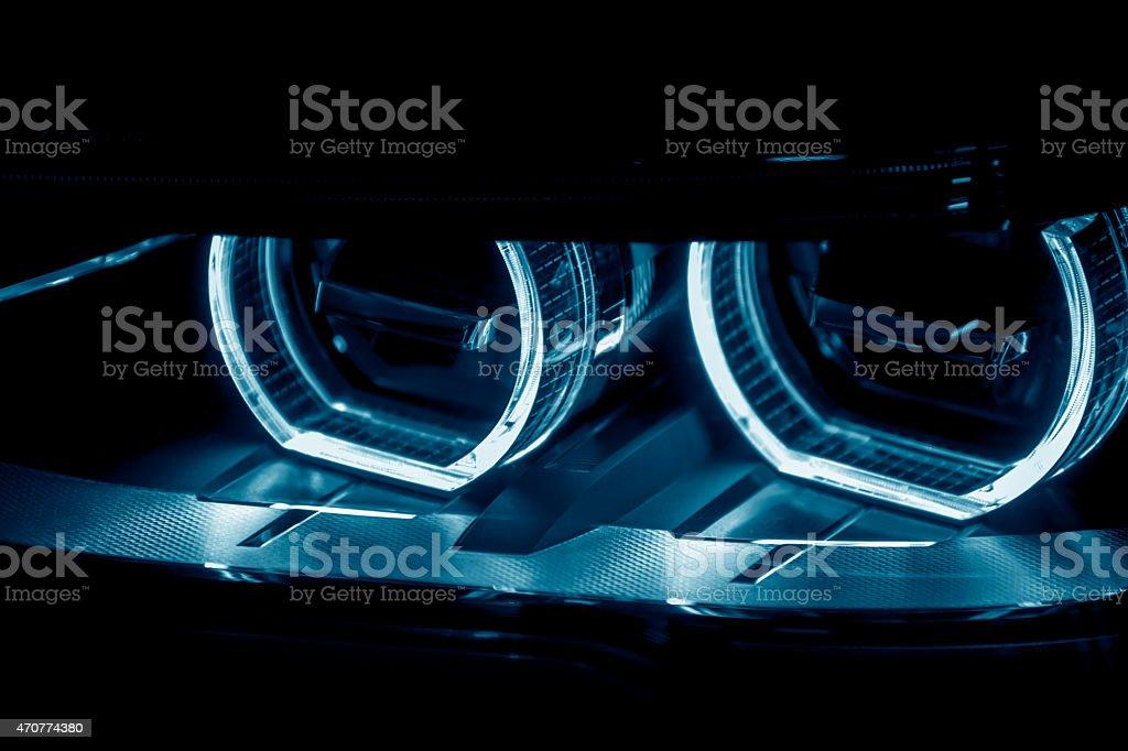 Car LED headlight stock photo