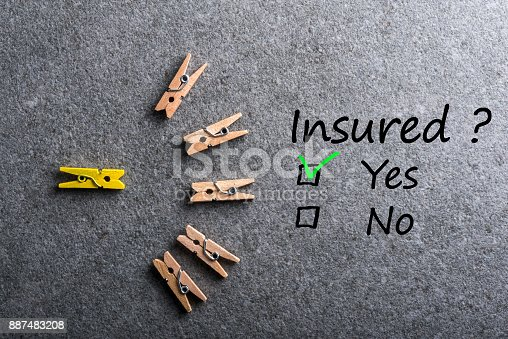 istock Car, life insurance, home, travel and healt insurance. Insure concept. Survey with question Insured? Yes or no. 887483208