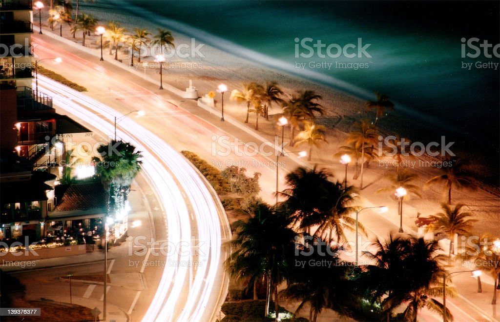 Car Light Beams by the beach royalty-free stock photo