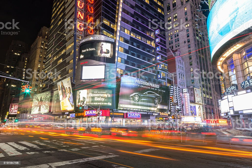 Car Light Trails at Rush Hour,Times Square, New York stock photo
