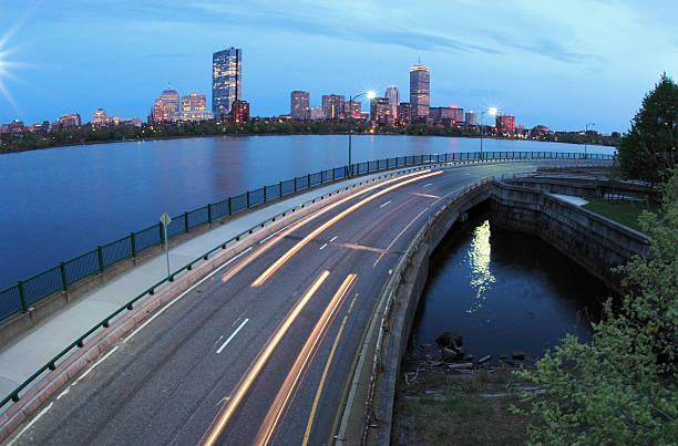 Car light trails in Boston stock photo