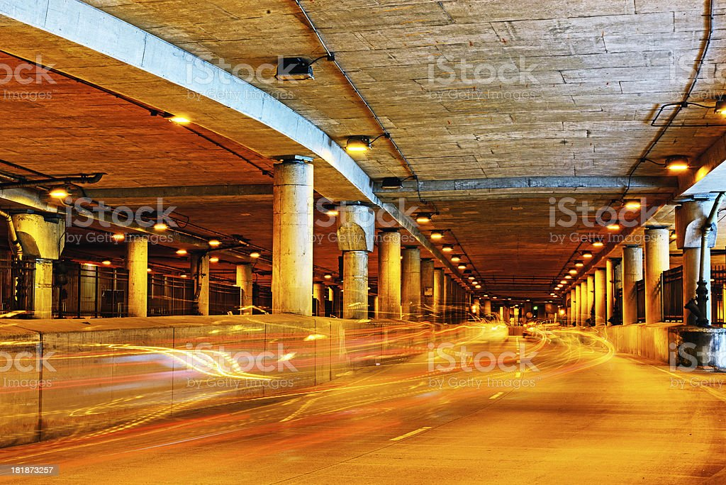 Car light trails, Lower Wacker Drive, Chicago stock photo