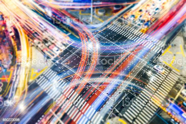 Car Light Trails On Intersection Stock Photo - Download Image Now