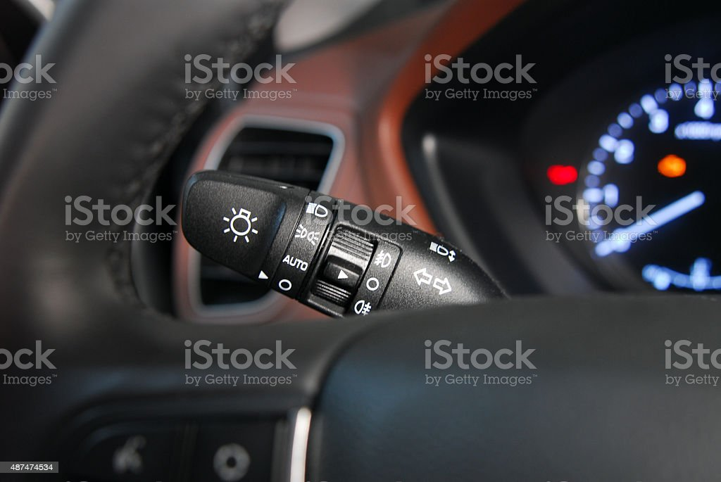 car lighting switch stock photo