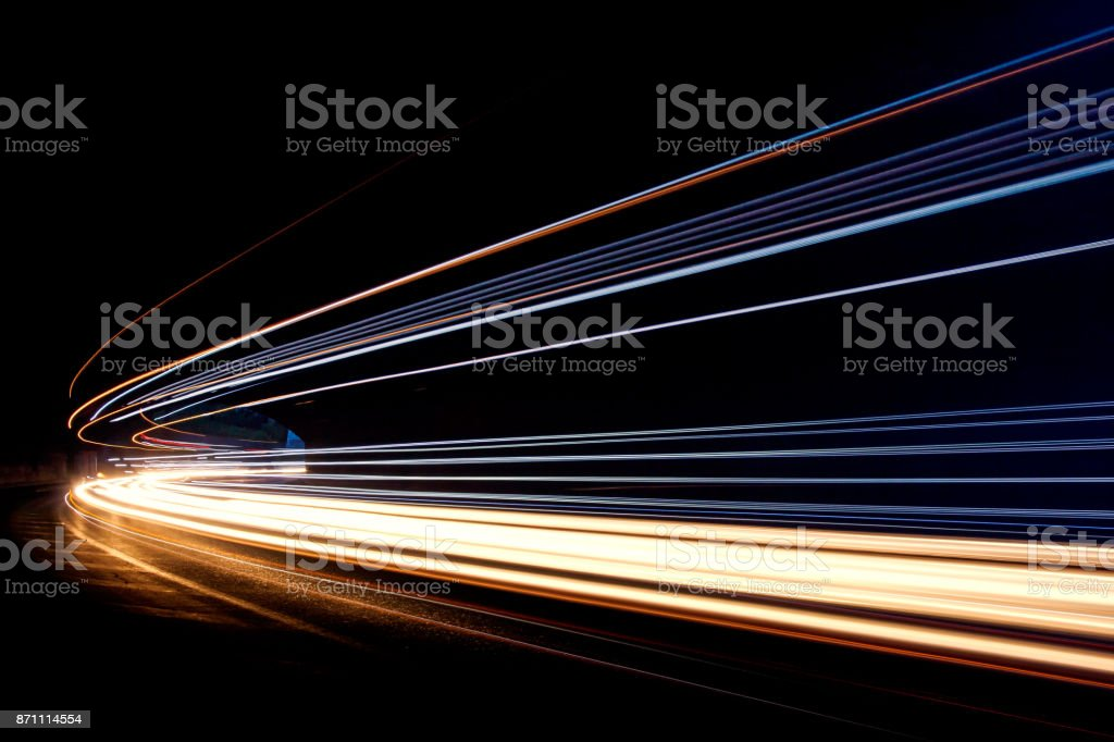 Car ligth trails. Art image stock photo