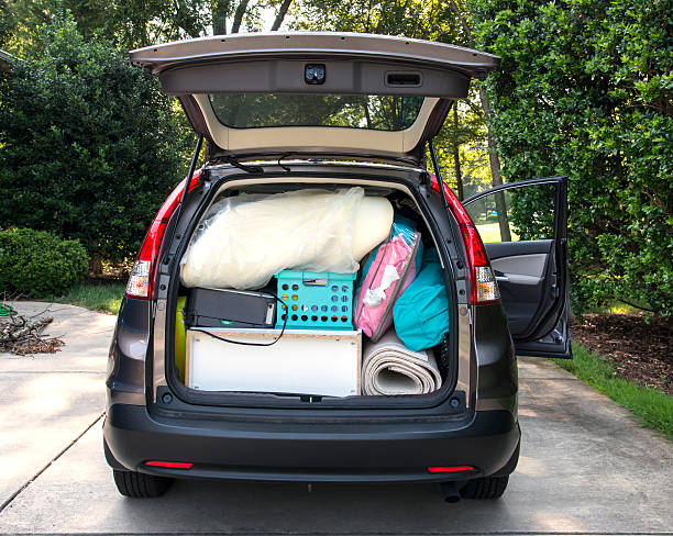 car loaded for college move in - physical activity stock photos and pictures