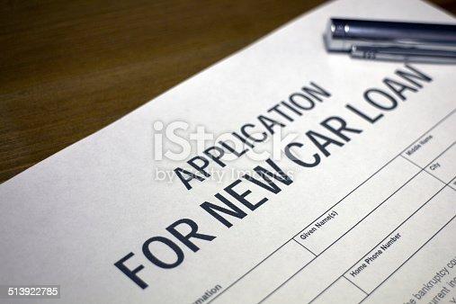 istock Car Loan Application Form 513922785