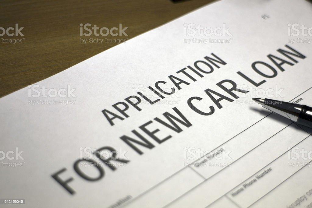 Car loan application stock photo