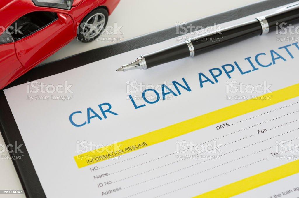 car loan document stock photo
