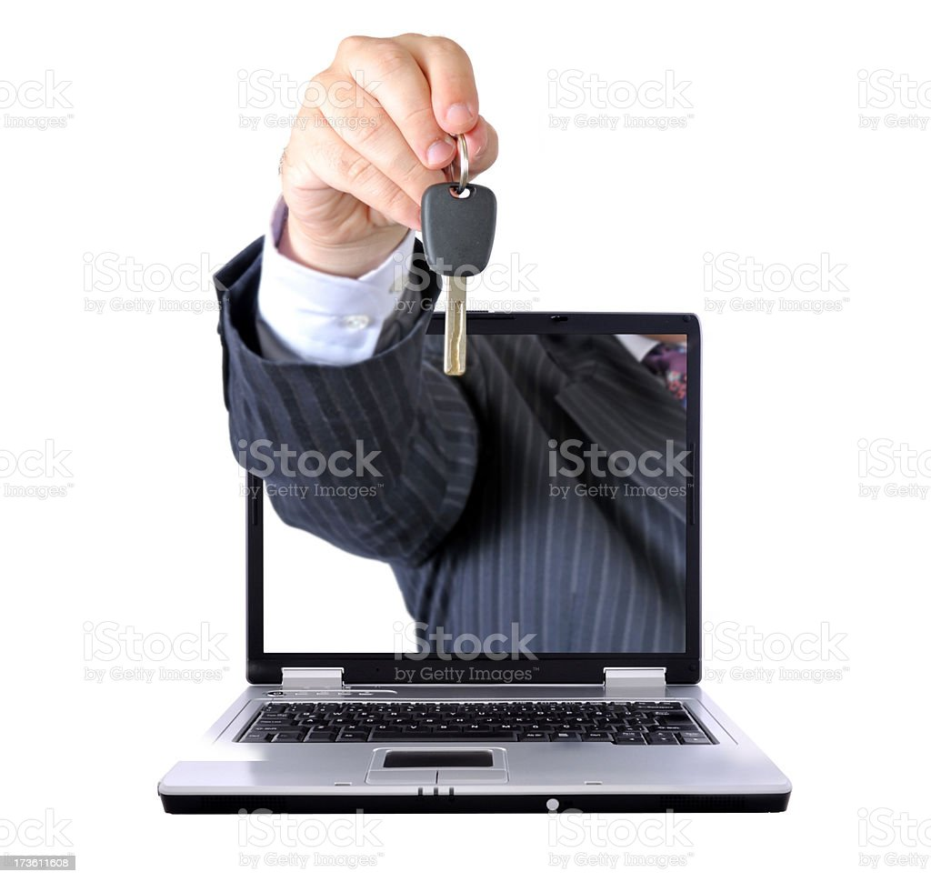 car loan on the internet stock photo