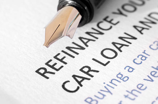 Car loan refinancing document stock photo