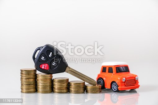 istock Car loan,money,car insurance application form 1176113344