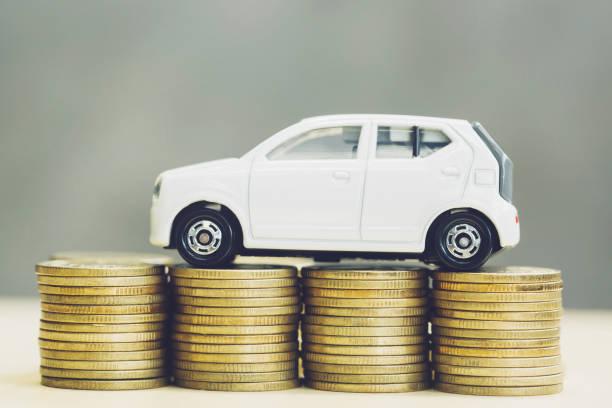 prêts automobiles, prêts à faible taux d'intérêt - icône de ligne photos et images de collection