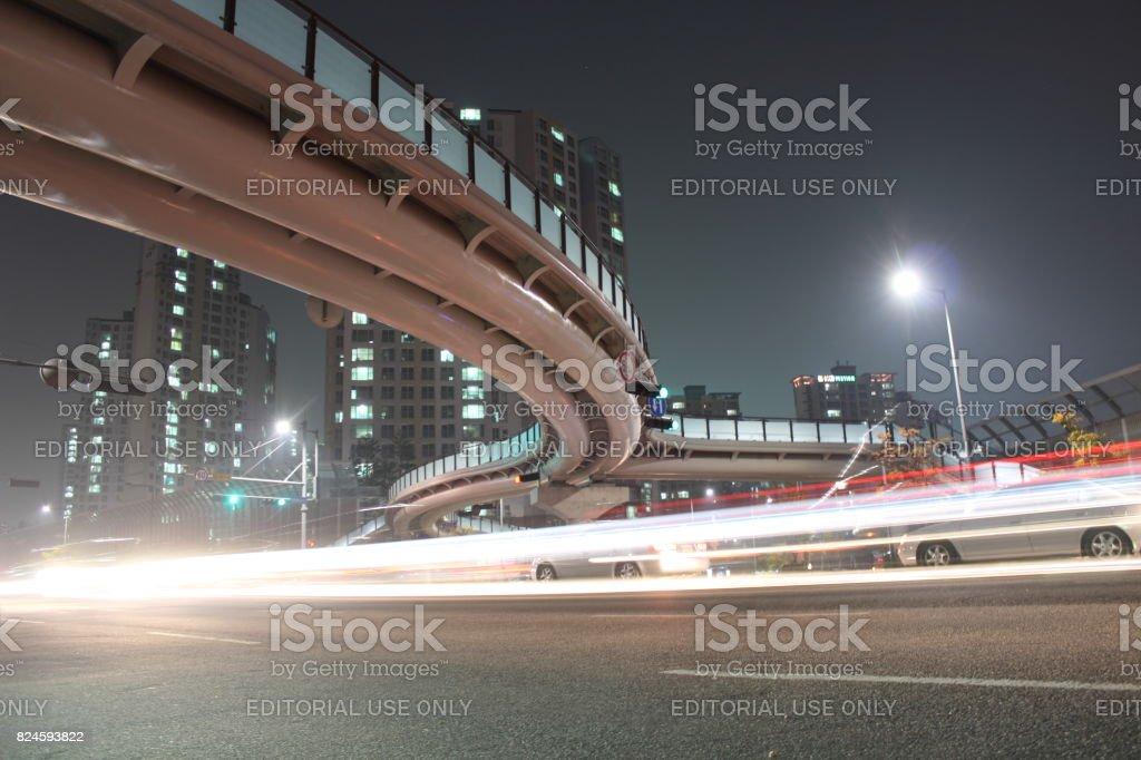 Car locus at night stock photo