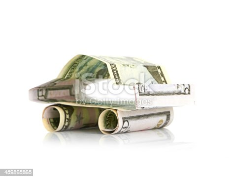 184640907istockphoto car made from dollar isolated on white background 459865865
