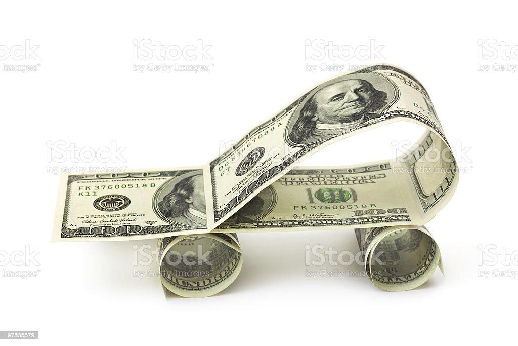 Voiture en dollars photo libre de droits