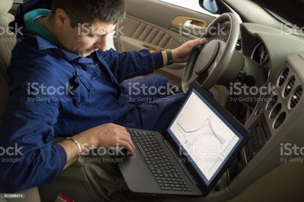 Car mechanic diagnosis stock photo