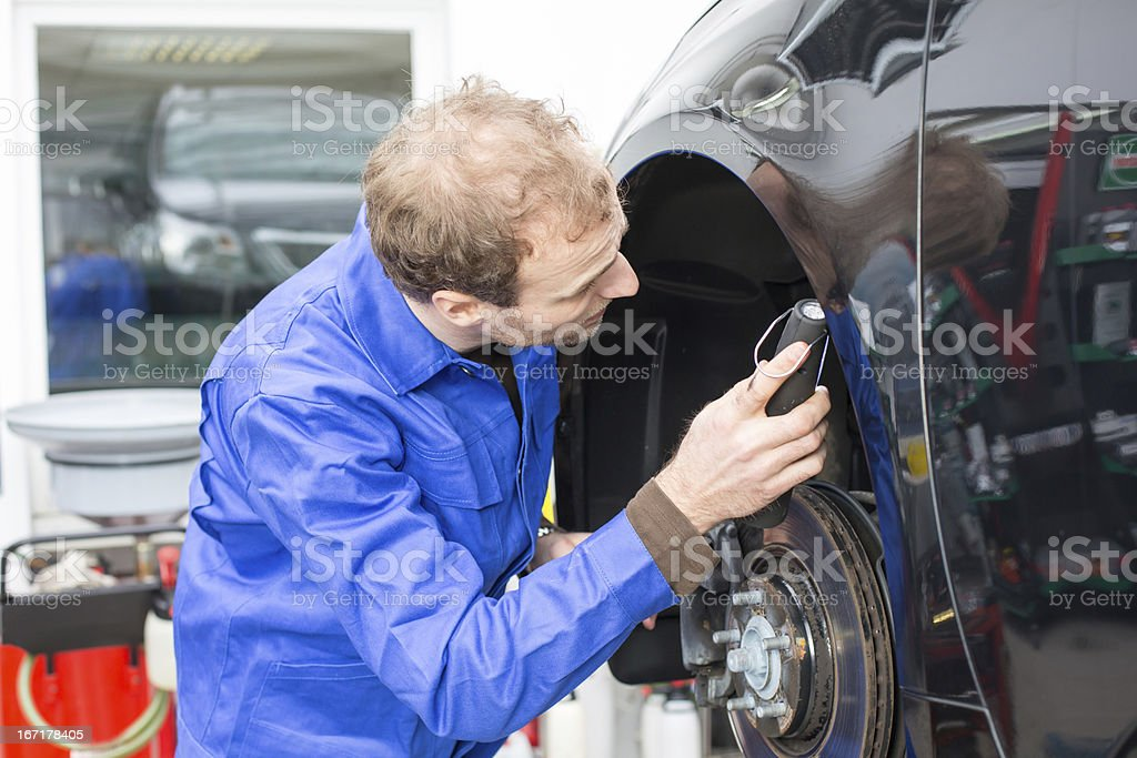 Car mechanic repairs the brakes royalty-free stock photo