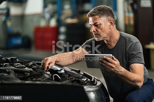 1137474295 istock photo Car mechanic using digital tablet while examining engine in auto repair shop. 1191778682