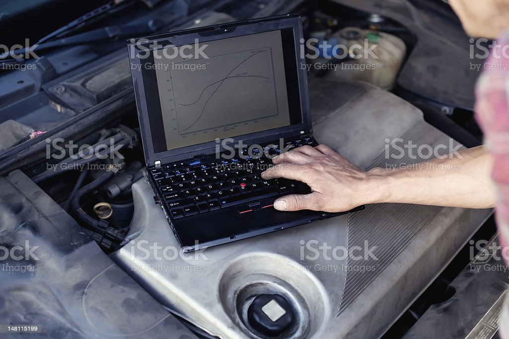 Car mechanic working with a laptop royalty-free stock photo