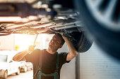 Car mechanic working.