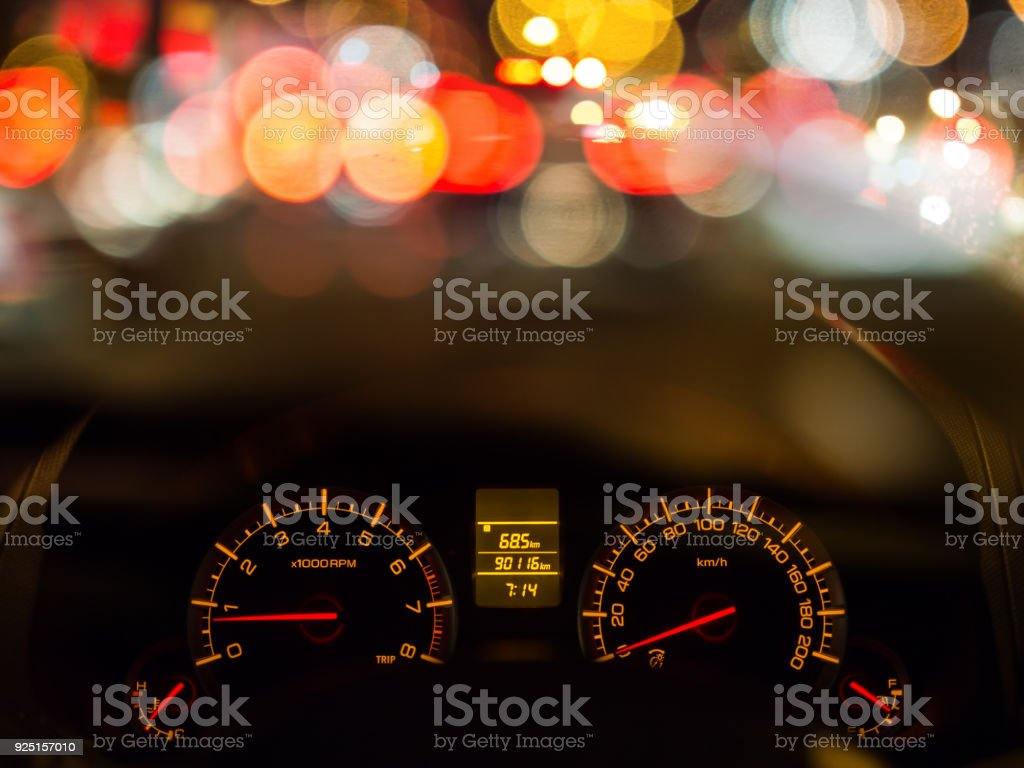 Car meter with light blur background. stock photo