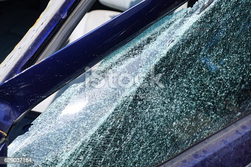 istock Car mirror window broken - accident 629037184