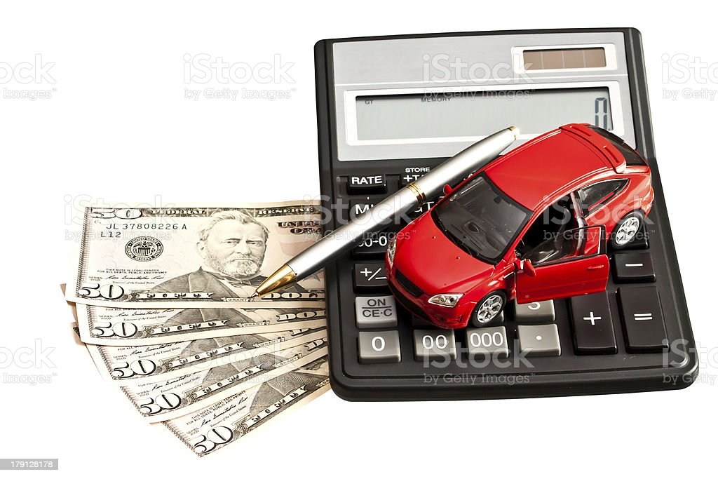 車、お金、カルキュレーター、ホワイト - アイデアのロイヤリティフリーストックフォト