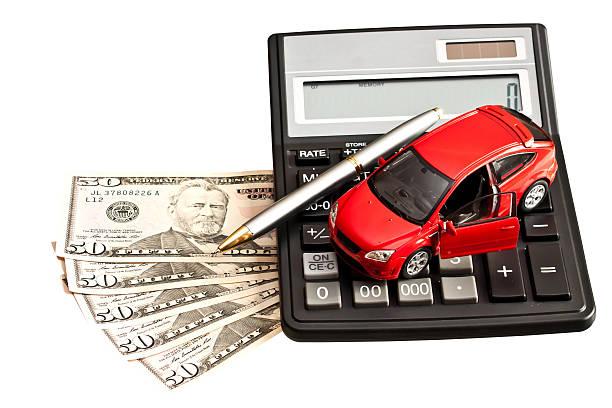 車、お金、カルキュレーター、ホワイト ストックフォト