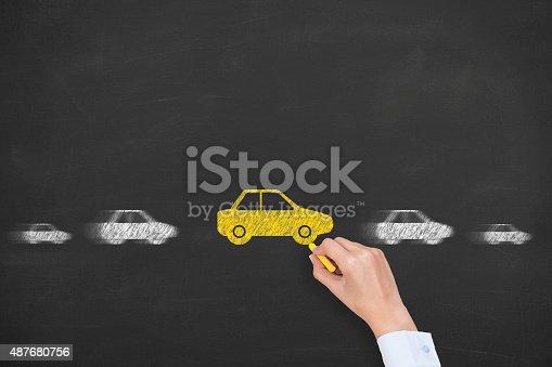 istock Car Motion on Blackboard 487680756