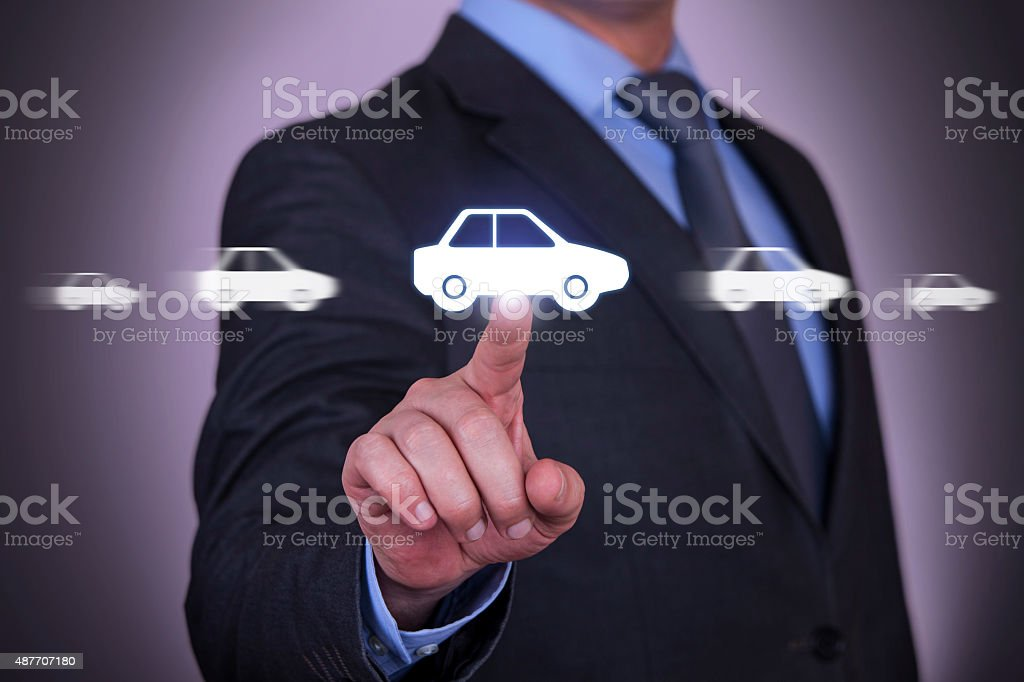 Car Motion on Touch Screen stock photo