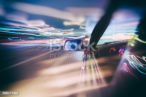 157590217 istock photo Car moving fast at night 599471052