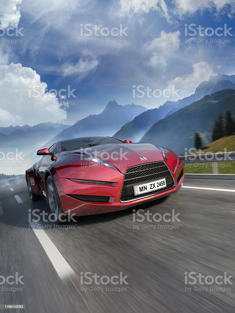 Car moving on the road stock photo
