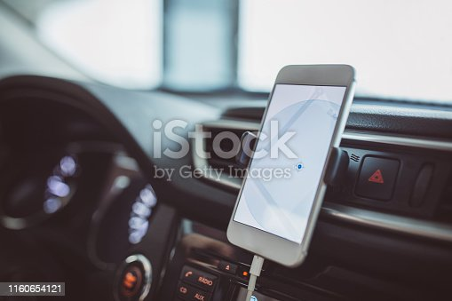 A mobile phone inside a car used for navigation
